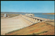 Postcard of Fort Randall Dam and Reservoir, Pickstown, South Dakota