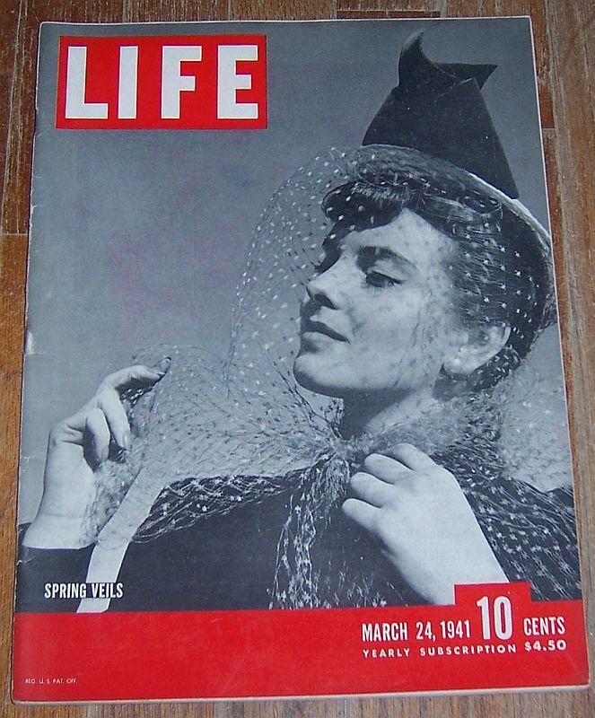 Life Magazine March 24, 1941 Spring Veils cover/Copacabana/RAF Pilots/WW II