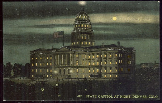 State Capitol at Night, Denver, Colorado Postcard