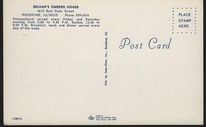 Vintage Unused Postcard Eklund's Swedish House 4615 East St Rockford, Illinois