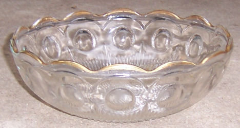 Vintage Pressed Glass Bowl with Thumbprints and Gold