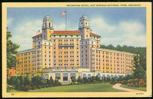 Postcard of Arlington Hotel, Hot Springs Park, Arkansas