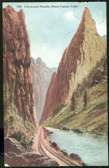 Postcard of Currecanti Needle Black Canon Colorado 1915