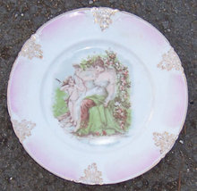 Vintage Bavarian Plate with Cupid and Lovely Lady
