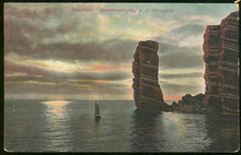 Postcard of Sunset Over Water with Sailboat Helgoland, Germany