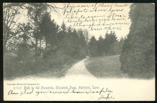 Postcard of Elizabeth Park, Hartford, Connecticut 1906