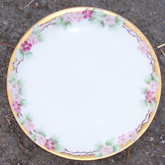 Germany Handpainted Pink Floral Porcelain Small Plate