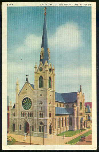 Postcard Cathedral of the Holy Name, Chicago, IL 1940