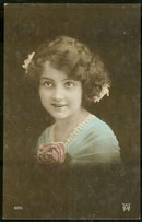 Beautiful Victorian Young Girl with Flowers Postcard
