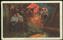 Dewey Postcard of Couples Camping Around Campfire 1911