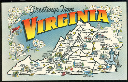 Map of Virginia Postcard Greetings From Virginia