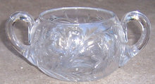 Vintage Glass Sugar Bowl with Etched Floral Design