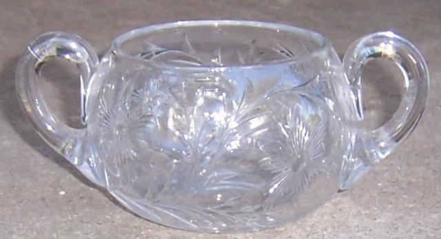 Vintage Glass Sugar Bowl with Etched Floral Design