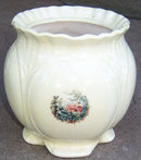 Vintage Yellow Pottery Planter with Colonial Lady Decal