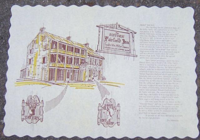 Vintage Unused Place Mat for Historic Fairfield Inn, Fairfield, Pennsylvania