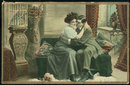 Postcard of Courting Couple in a Victorian Parlor