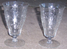 Pair of Vintage Elegant Floral Etched Ice Tea Glasses