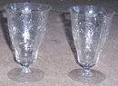 Pair of Vintage Elegant Floral Etched Ice Tea Glasses