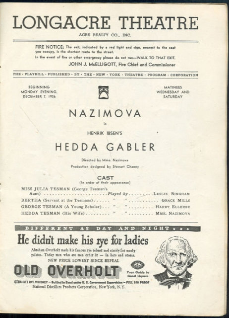 Playbill Nazimova in Hedda Gabler December 1936