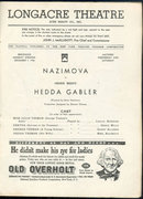 Playbill Nazimova in Hedda Gabler December 1936