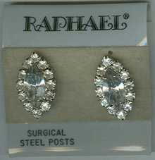 Vintage Raphael Rhinestone Pierced Earrings