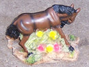 Two Dark Brown Horses, H's Collection Resin Figurine