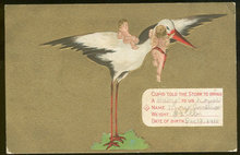 Postcard Cupid Told the Stork to Bring a Baby in 1910