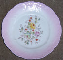 Vintage Plate with Roses in Center and Pink Edges