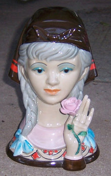 Valencia Pottery Lovely Lady Head Holding a Rose