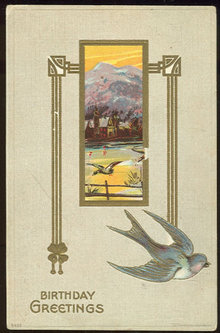 Birthday Greetings Postcard Blue Bird and Mountains