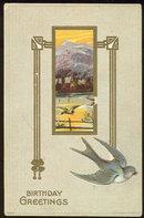 Birthday Greetings Postcard Blue Bird and Mountains