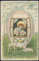 Little Boy in Easter Egg House Wishing You Greetings
