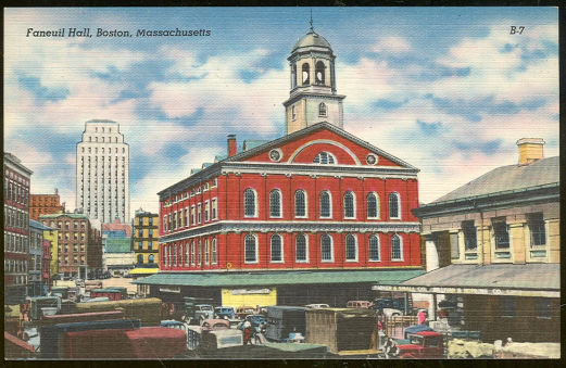 Postcard of Faneuil Hall, Boston, Massachusetts