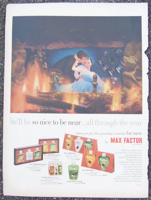 1952 Max Factor Gift Sets for Men Magazine Color Ad