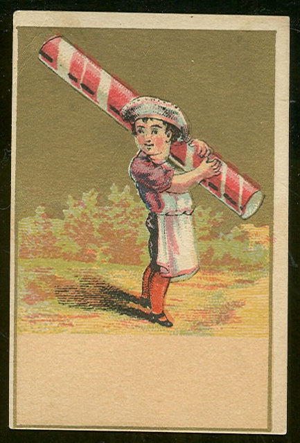 Small Victorian Trade Card with Chef Holding Peppermint