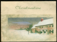 Vintage Christmastime Greetings Card with Snowy House