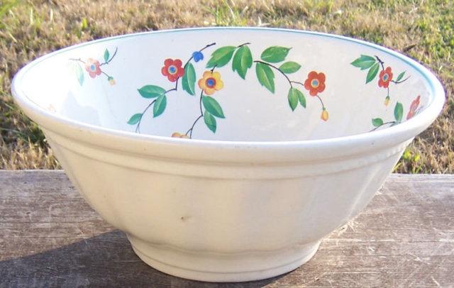 Vintage Bake Rite Ohio China Large Floral Mixing Bowl