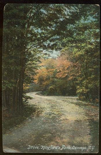 Postcard of Drive, Kingford's Park, Oswego, New York