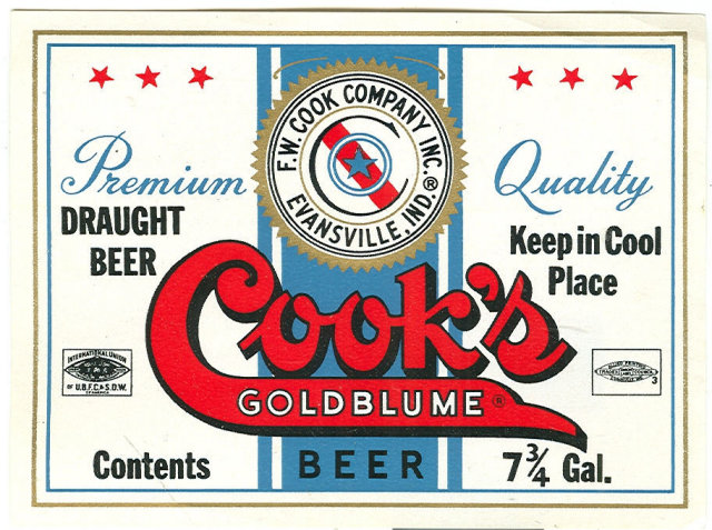Vintage Cook's Goldblume Beer Label 7 3/4 Gallon, Evansville, Indiana
