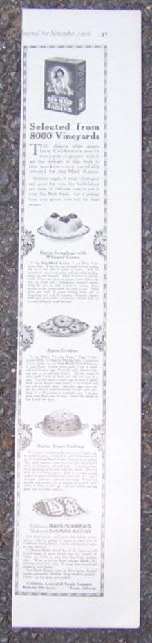 Sun Maid Raisins with Recipes 1916 LHJ Advertisement