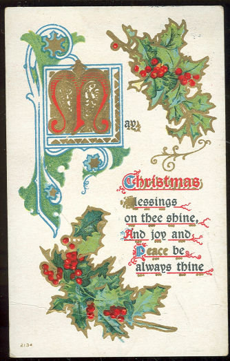 Christmas Postcard with Blessings and Holly 1910