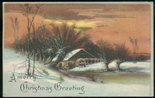 Christmas Postcard with Snowy Landscape and Mill 1920