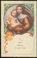 Religious Christmas Postcard with Madonna and Child