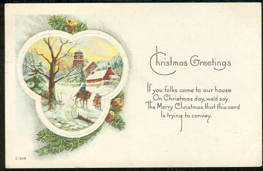 Christmas Greetings Postcard Man on Horseback 1920