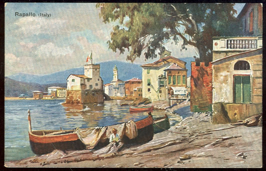 German Art Postcard of Boats Along Coast Rapallo, Italy