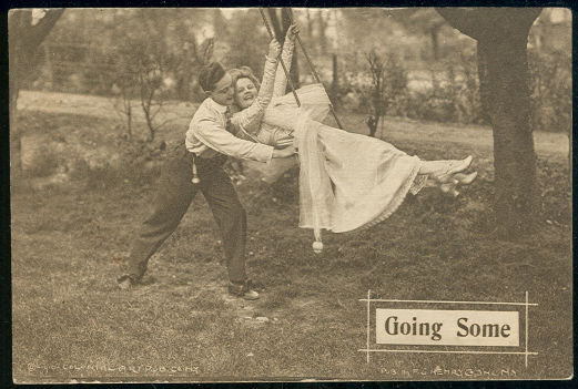 Postcard of Victorian Couple on a Swing Going Some 1910