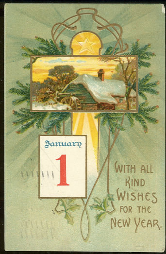 New Year Postcard With Kind Wishes and Snowy Mill 1908