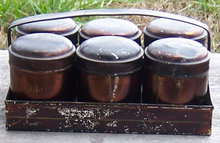 Metal Spice Carrying Caddy and Six Canisters with Lids