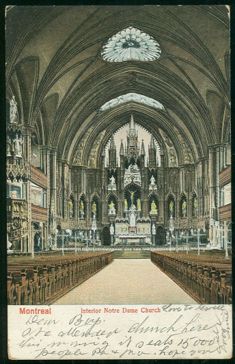 Undivided Postcard of the Interior Notre Dame Church, Montreal, Canada