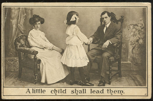Victorian Postcard of Little Girl With Parents 1910